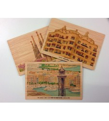 Wooden postcards images of barcelona