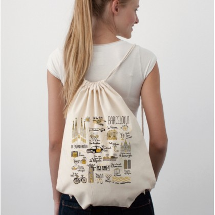 Illustrated Map Barcelona Cotton Sac