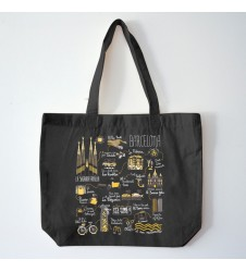 Illustrated Map Barcelona Organic Bag