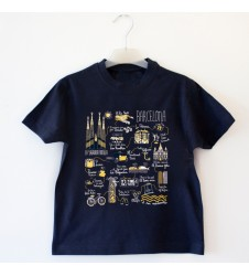 Illustrated Map Barcelona Kid T-Shirt
